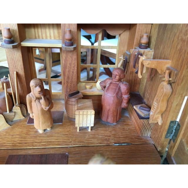 Hand Carved Wood With Marquetry General Store Model Diorama For Sale In Tampa - Image 6 of 11