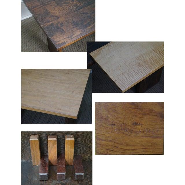 Brown Jeffrey Greene Studio Mixed Wood Geometric Coffee Table For Sale - Image 8 of 10