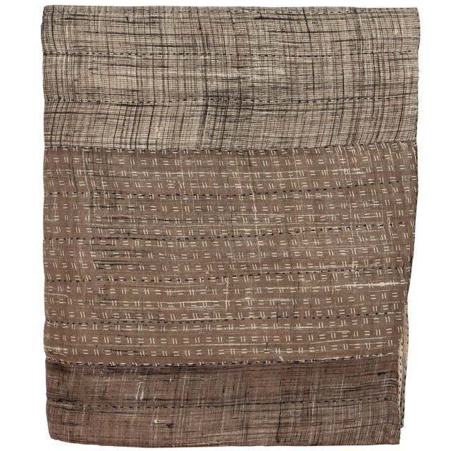 Indian Quilted Cotton Bedcover in Grey For Sale