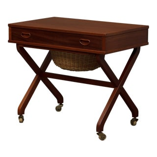 1950s Danish Modern Teak Sewing Table For Sale