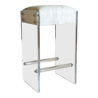 Maurice Lucite and Hide Bar Stool For Sale