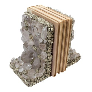 Quartz Crystal & Pyrite Bookends - A Pair