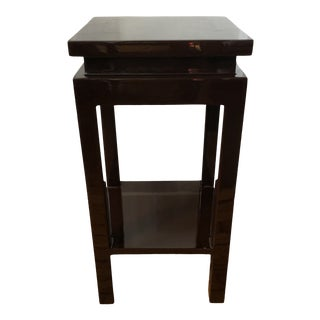 Square 2 Tier Chocolate Lacquer Drink Table For Sale