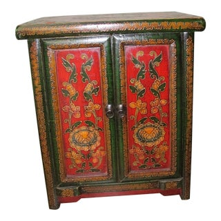 Tibetan Floral Decorated Side Chest For Sale