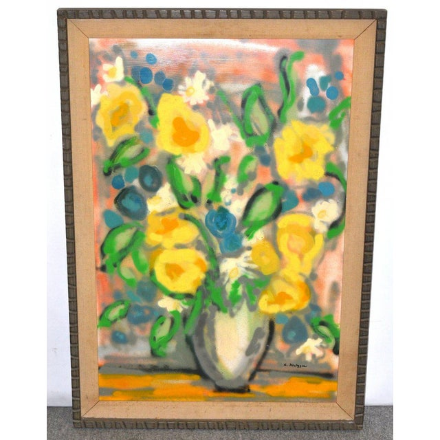 "American, 20th Century Artist Evelyn Metzger, Oil on Masonite ""Spring Bouquet"" Signed and Labeled on back. Deaccessioned..."