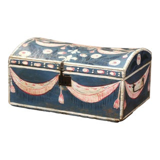 18th Century French Normandy Painted Wedding Trunk With Bird and Swag Motifs For Sale