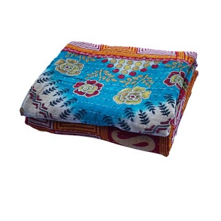 """Vintage Indian CottonThrow Kantha Quilt 88"""" by 52"""" For Sale"""