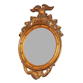 Federal Style Gilt Wood Convex Mirror For Sale