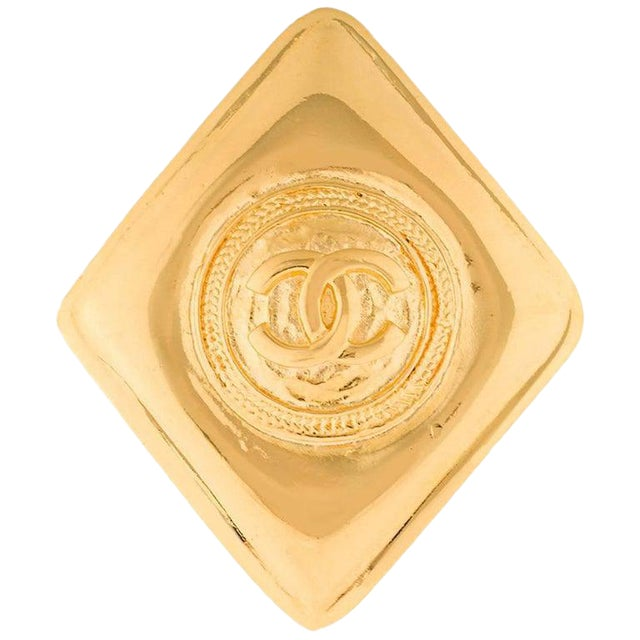 Chanel Gold Diamond Charm Evening Statement Pin Brooch in Box For Sale