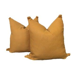 Autumn Gold Linen Pillows - a Pair For Sale