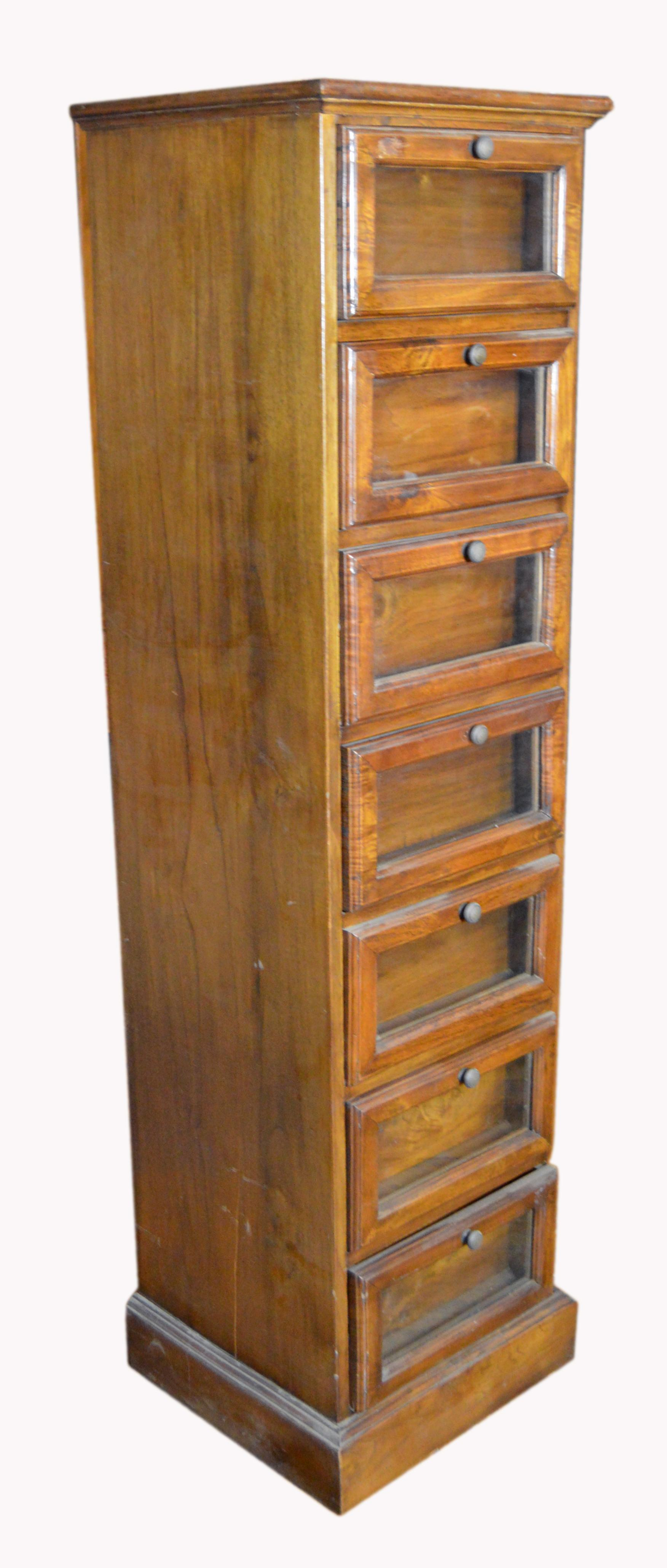 19th Century Indonesian Lacquered Wood And Glass Seven Drawer Apothecary  Cabinet