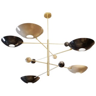 "Blueprint Lighting Large Modern ""Catalonia"" Chandelier in Enamel + Brass For Sale"