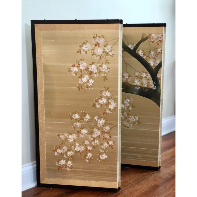 Asian Vintage Four Panel Hand Painted Byobu Folding Screen of Cherry Blossoms For Sale - Image 3 of 12