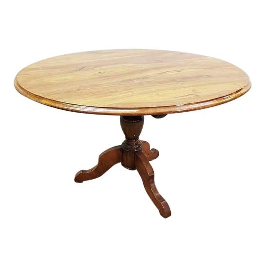 Antique French Walnut Round Tilt Top Occasional Side Breakfast Table For Sale