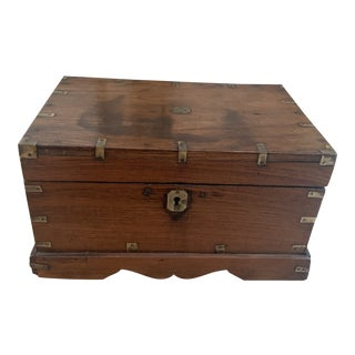 Antique Pine Tea Caddy Box With Brass Accents For Sale