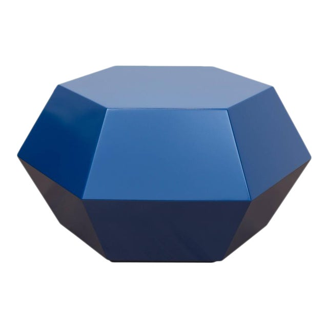 Lacquered Navy Faceted Cocktail Table - Image 1 of 6