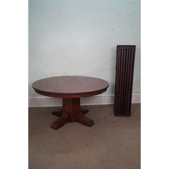 Antique Gustav Stickley Round Mission Oak Dining Table & 6 Leaves For Sale - Image 10 of 10