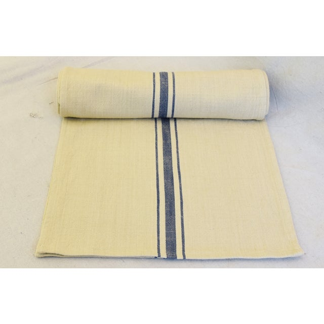 "Custom tailored 110""L table runner created from vintage/never used woven cotton blended fabric in a cream and blue stripe..."