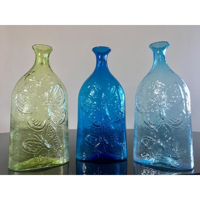 Blue Contemporary Architectural Blenko Butterfly Decanters - Set of 3 For Sale - Image 8 of 9
