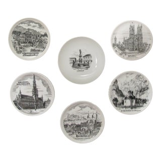 European Landmarks Wine Coaster Set, S/6