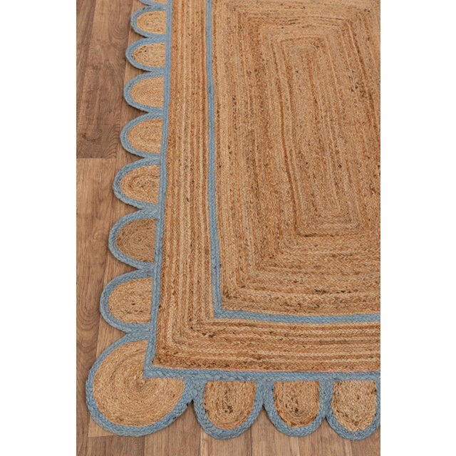 Modern Scallop Jute Classic Blue Hand Made Rug - 2.6'x5' For Sale - Image 3 of 9