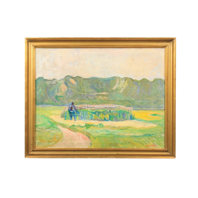 20th C. Expressionist Harvest Scene by Vedel Egebaek For Sale
