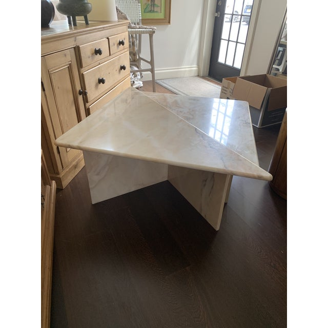 Mid Century Tiered Triangular Pink Marble Cocktail Table For Sale In New York - Image 6 of 8