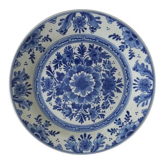 Antique Hand-Painted Delft Wall Plate-Signed For Sale