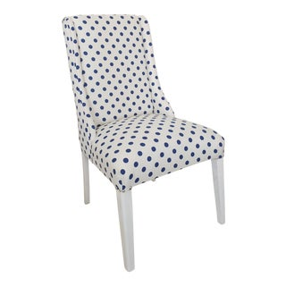 Vintage Art Deco Accent Chair in Linen Polka Dot Upholstery For Sale