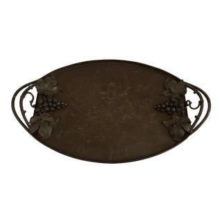 20th Century French Iron Tray With Grape Lead Detail For Sale