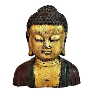 Early 20c Cambodian Gilt and Painted Iron Buddha Bust For Sale