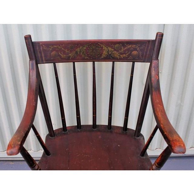 Mid 19th Century Early Original Paint Decorated 19th Century Hitchcock Armchair For Sale - Image 5 of 7