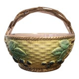 Image of Early 20th Century Antique Majolica Blackberry Basket For Sale