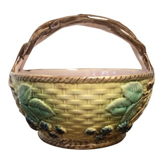 Early 20th Century Antique Majolica Blackberry Basket For Sale