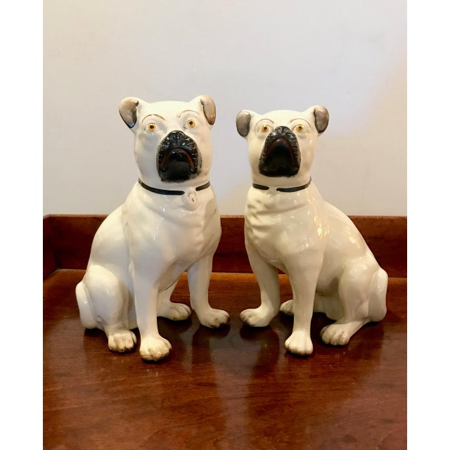 Pair Staffordshire 19th C. Pugs For Sale - Image 12 of 12