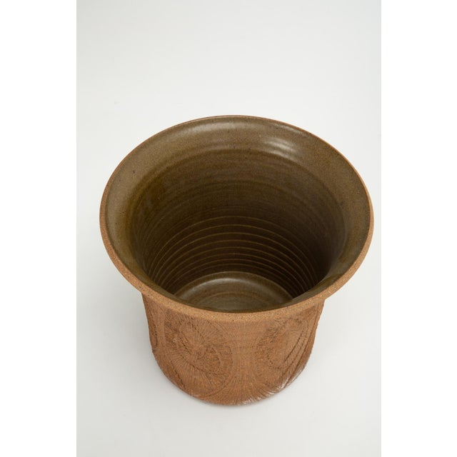 Robert Maxwell Robert Maxwell Incised Studio Pottery Planter with Flared Lip For Sale - Image 4 of 12