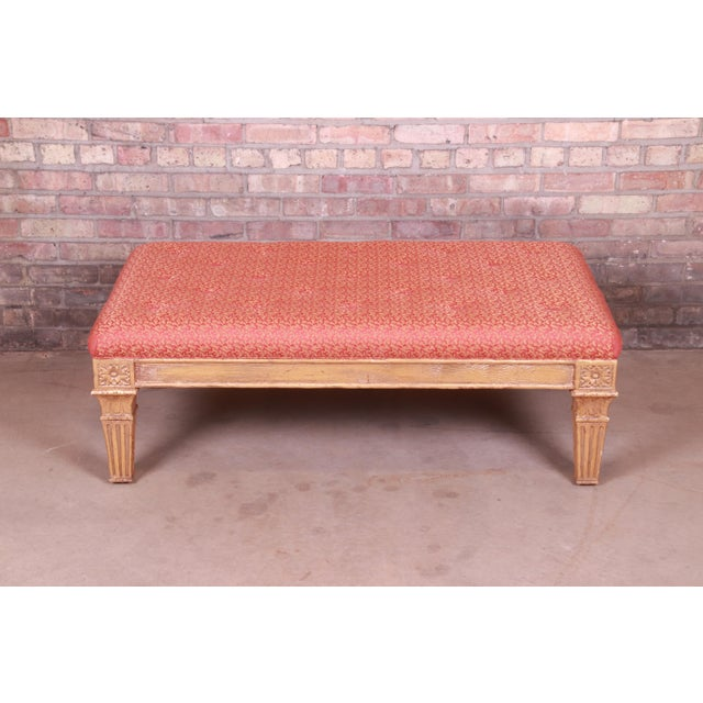 French Baker Furniture French Louis XVI Gilt Upholstered Bench, Circa 1960s For Sale - Image 3 of 13