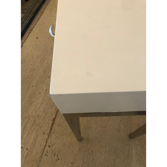 Contemporary Jonathan Adler White Lacquer and Chrome Console For Sale - Image 10 of 12