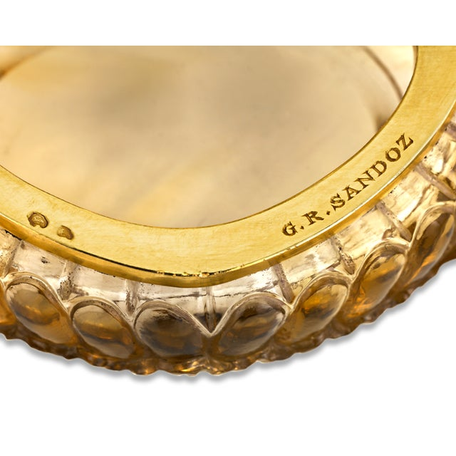 1900 - 1909 Carved Citrine Pill Box For Sale - Image 5 of 6