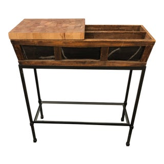 Custom Industrial Iron & Wood Dry Bar For Sale