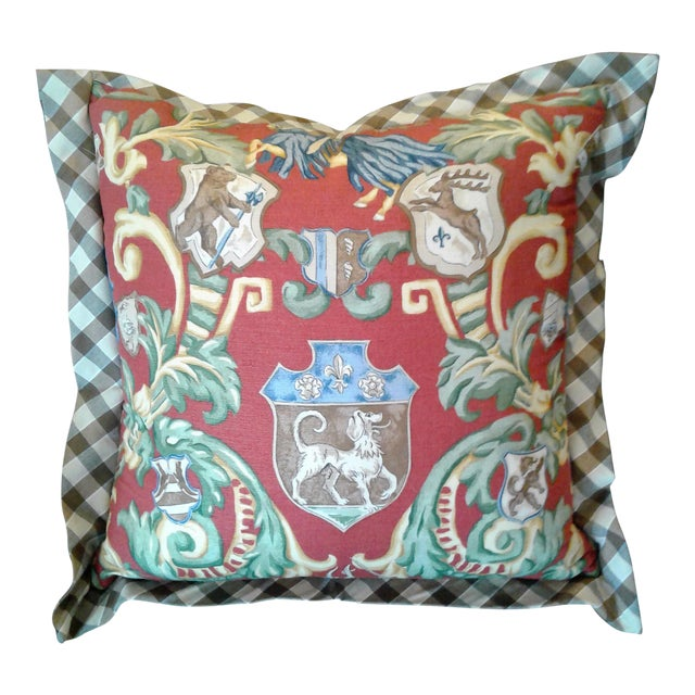 Red & Green Crest Pillow For Sale