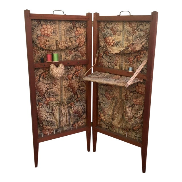 Antique Folding Sewing Cabinet For Sale