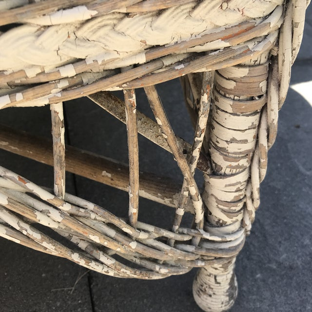 Vintage Wicker Rocker & Chair - a Pair For Sale - Image 9 of 10