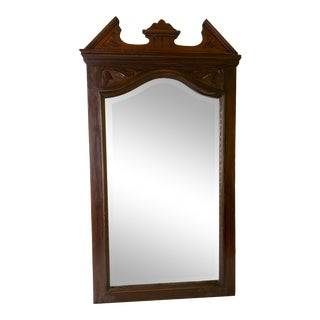 Antique Victorian Hand Carved Mahogany Wall Mirror For Sale