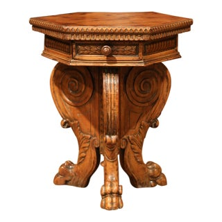 19th Century English Carved Walnut Side Table With Hexagonal Top and Two-Drawers For Sale