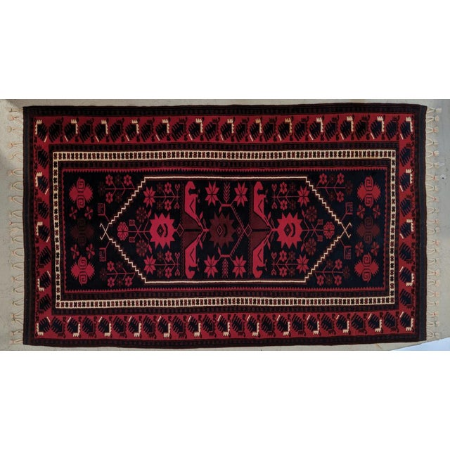 Persian, Hand- Woven Red Rug, With Braided Tassels, Vintage For Sale - Image 9 of 9