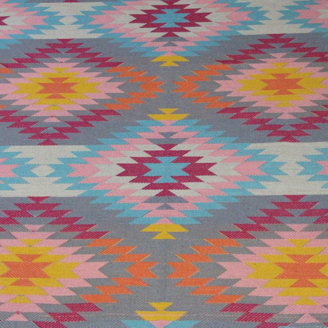 "Flat Weave Turkish Pink Wool Kilim Rug - 5'3"" X 7'6"" For Sale - Image 4 of 8"