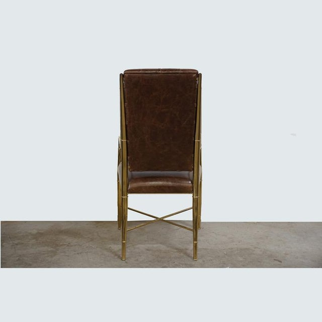 Hollywood Regency Mastercraft Faux Bamboo and Leather Chair For Sale - Image 3 of 4