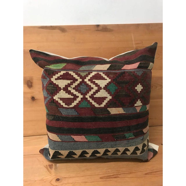 Early 19th Century Turkish Large Kilim Pillow From Rug Fragments For Sale - Image 5 of 5