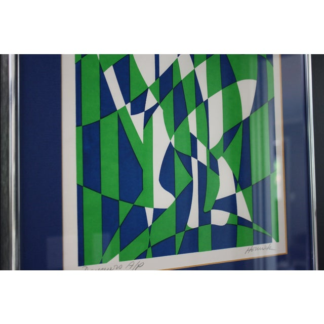1970s Op Art Blue and Green Serigraphs - A Pair - Image 11 of 11